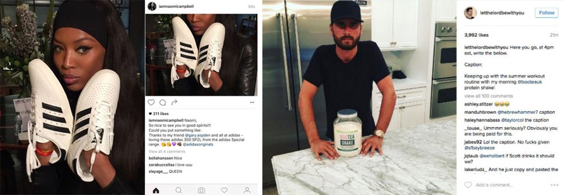 Naomi Campbell and Scott Disick Instagram Posts